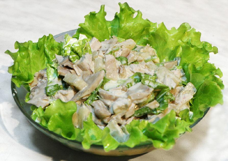 салат с шампиньонами на двоих рецепт