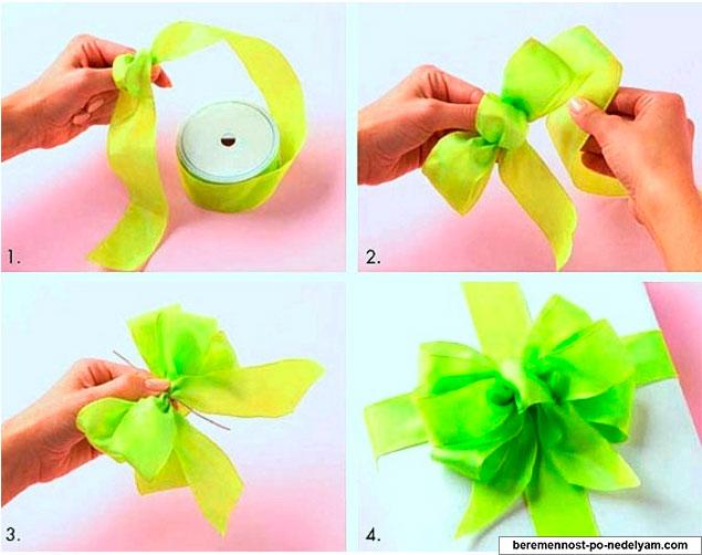 Как сделать красивый бантик своими руками из ленточки 5