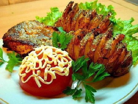 Блюда из картошки, Картошка-гармошка запеченная с грибной начинкой
